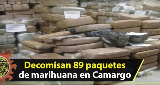 Decomisan 89 paquetes de marihuana en Camargo