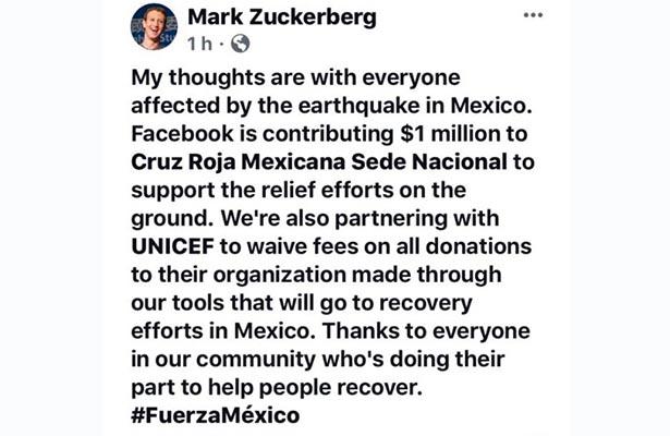 Facebook aporta 1 millón de dólares a la Cruz Roja Mexicana