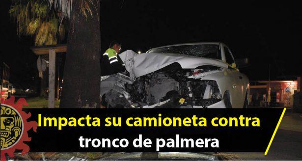 Impacta su camioneta contra tronco de palmera