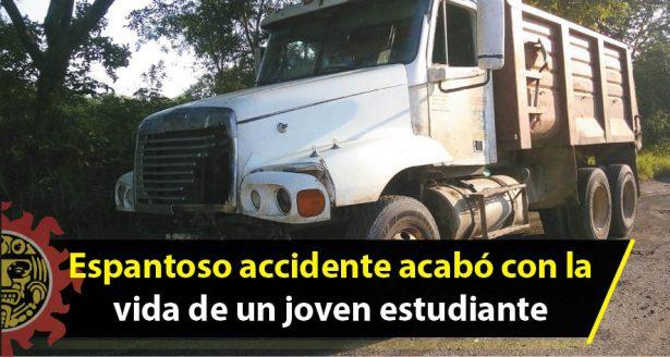 Espantoso accidente acabó con la vida de un joven estudiante