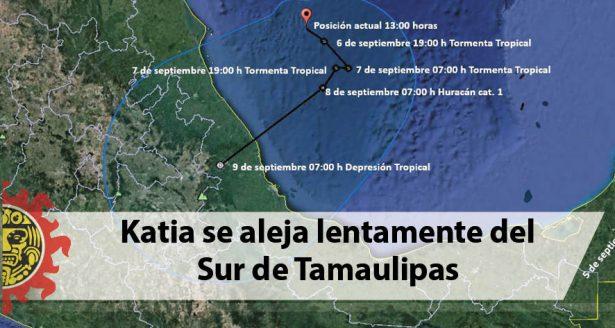 Katia se aleja lentamente del Sur de Tamaulipas