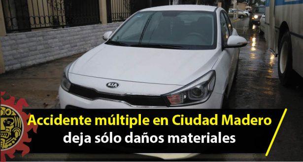 Accidente múltiple en Ciudad Madero deja sólo daños materiales
