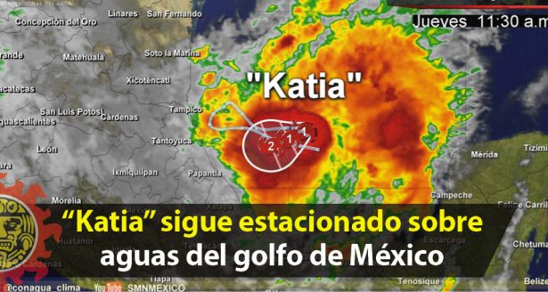 """""""Katia"""" sigue estacionado sobre aguas del golfo de México"""