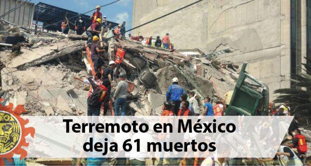Terremoto en México deja 61 muertos