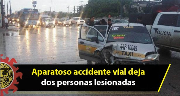 Aparatoso accidente vial deja dos personas lesionadas