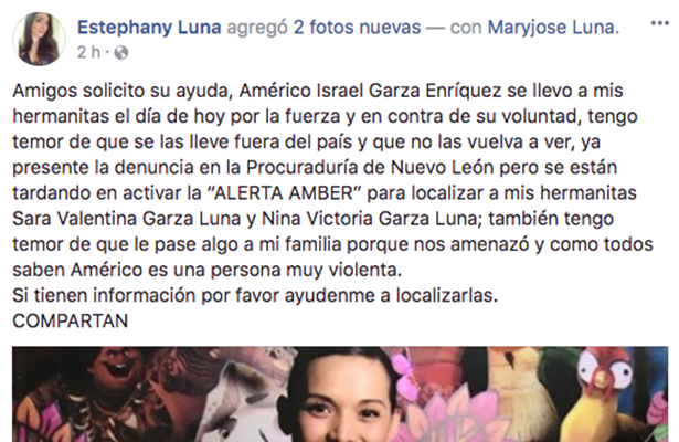 A través de redes sociales, la hija de Karla Luna pide ayuda para encontrar a sus hermanitas