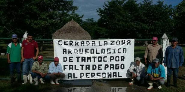Protestan cerrando al público zona arqueológica de Tamtoc