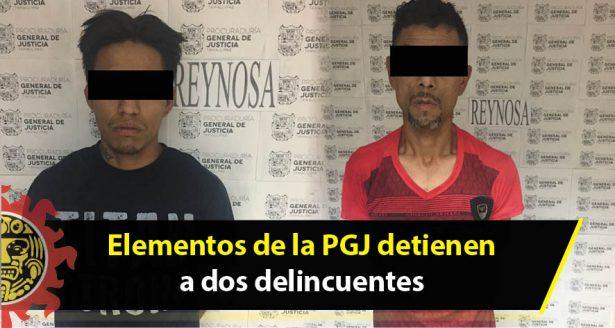 Elementos de la PGJ detienen a dos delincuentes