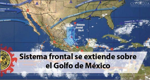 Sistema frontal se extiende sobre el Golfo de México