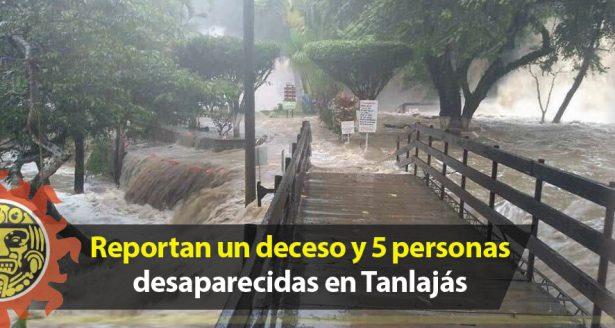 Reportan un deceso y 5 personas desaparecidas por la crecida del río en Tanlajás