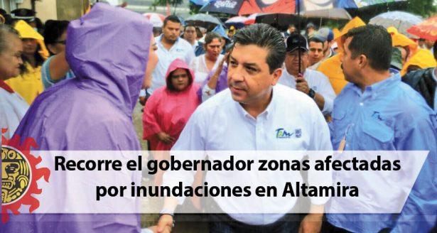 Recorre el gobernador zonas afectadas por inundaciones en Altamira