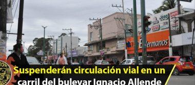 Suspenderán circulación vial en un carril del bulevar Ignacio Allende en Altamira