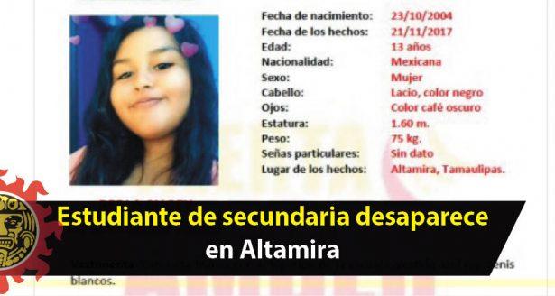 Estudiante de secundaria desaparece en Altamira