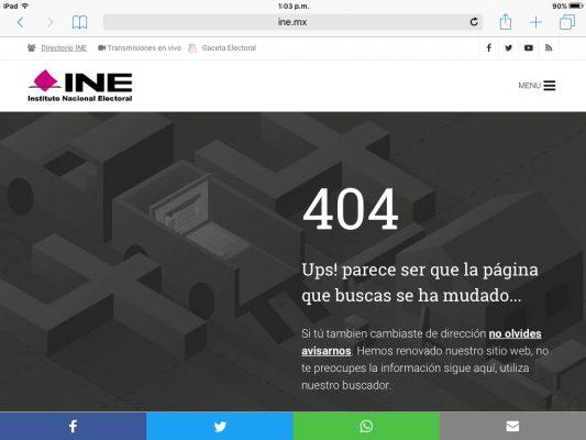 Falla página web del INE para reporte de candidatos independientes.