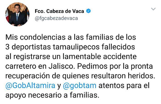 Lamentan gobernador y alcaldesa trágico accidente de deportistas
