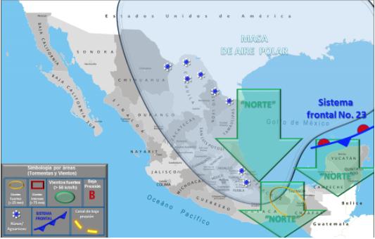Suspenden clases en frontera de Tamaulipas por Frente Frío 23