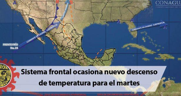 Sistema frontal ocasiona nuevo descenso de temperatura para el martes