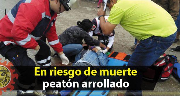 En riesgo de muerte el peatón arrollado por motorepartidor de tortillas