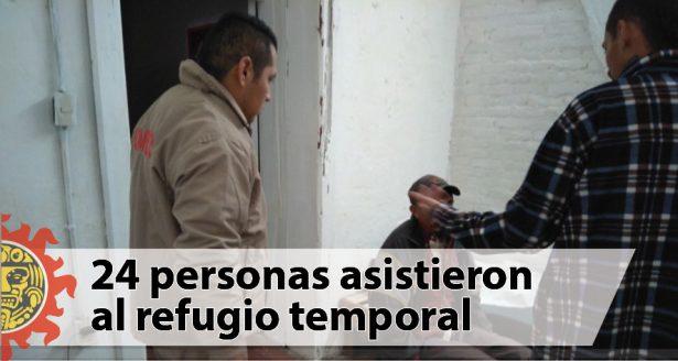 Refugio temporal de invierno reporta 24 asistentes