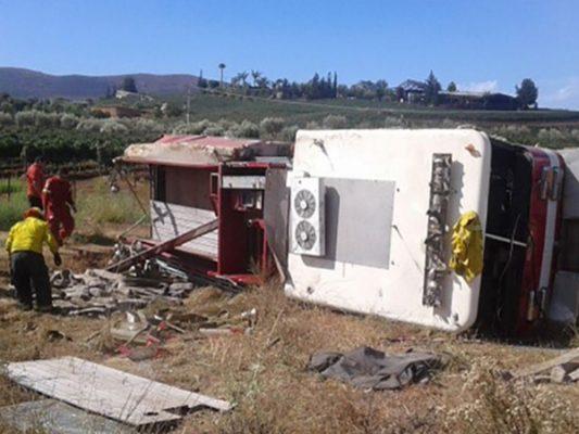 Accidente carretero en Ensenada deja cuatro bomberos lesionados