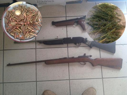 Autoridades aseguran marihuana y armas largas