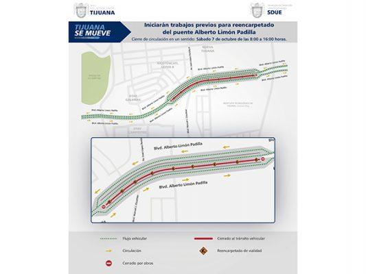 Anuncian cierre parcial del puente Alberto Limón Padilla por obras