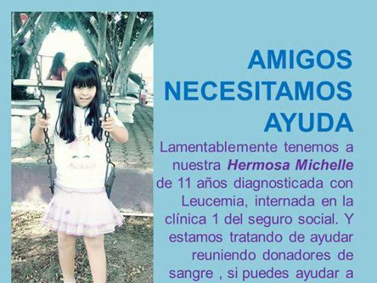 Piden donadores de sangre para Michell