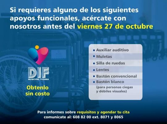 Extiende DIF Tijuana fecha límite para solicitar apoyos funcionales