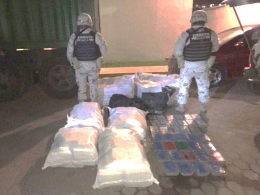 Ejército asegura a hombre, droga y vehículo