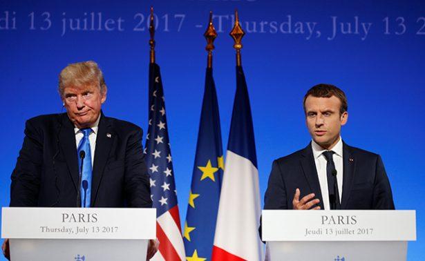Macron defiende Acuerdo Climático de París en visita de Trump a Francia