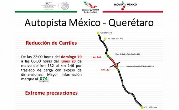 Reducción de carriles en la México-Querétaro