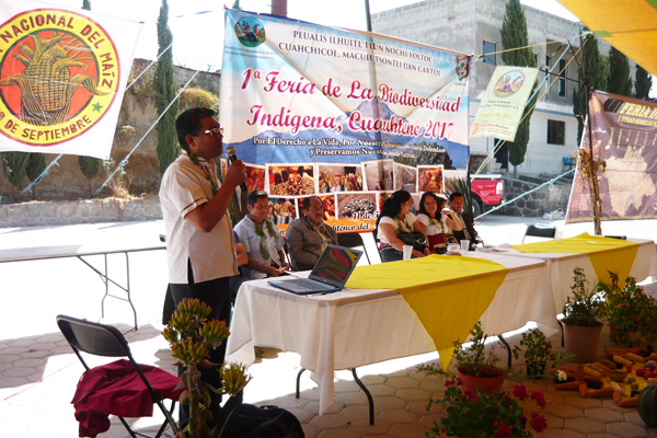 Primo Sánchez Morales, catedrático de la BUAP, en su conferencia, resaltó la importancia que tiene el maíz nativo para la salud de los mexicanos. / Armando PEDROZA