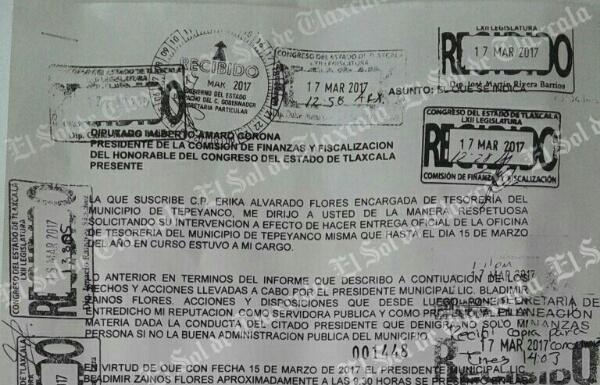 """Destituyen a encargada de tesorería de Tepeyanco por negarse a pagar a """"aviadores"""""""