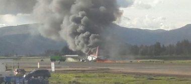 #Video Se incendia avión en aeropuerto de Perú; evacúan a pasajeros