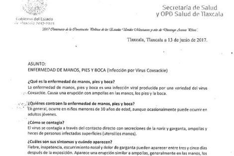 En alerta por virus Coxsackie en Tlaxcala y Edomex