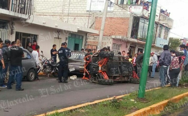 Cuatro menores de edad se accidentan en Chiautempan