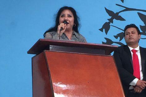 Martha Palafox Hernández, alcaldesa de Axocomanitla, informó de acciones realizadas y próximas a ejecutar en su primer año de gobierno. / Francisco H. REYES