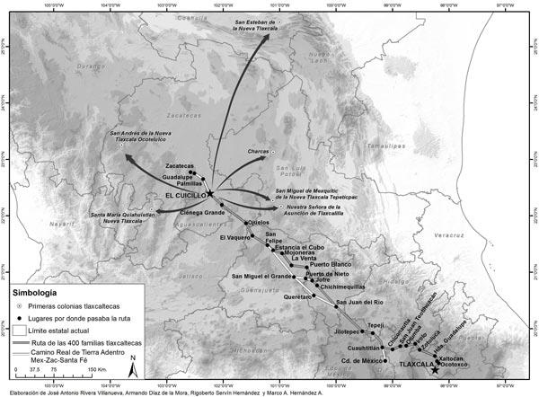 Ruta que debieron seguir las 400 familias tlaxcaltecas, desde Tlaxcala hasta El Cuicillo, en Cuahtitlán se incorporaron al Camino Real de Tierra Adentro, junio-agosto de 1951. /EL SOL DE TLAXCALA