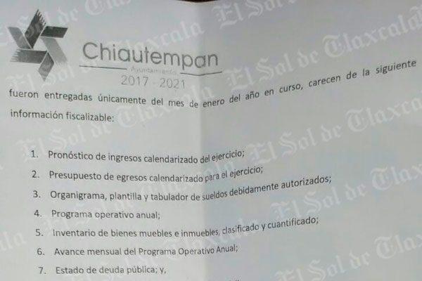Se deslinda Síndico de presuntas irregularidades en cuenta pública