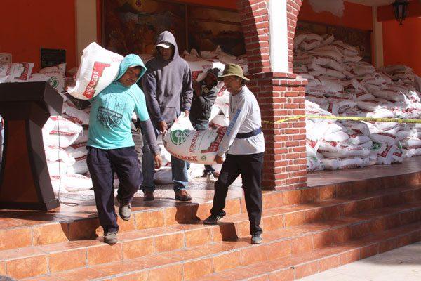 Reciben productores de maíz abono químico para fertilizar