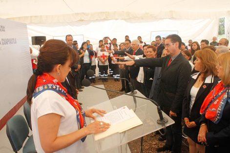 En el acto inaugural, rindió protesta el consejo de la Cruz Roja que realizará las operaciones de la nueva base. /Jesús ZEMPOALTECA
