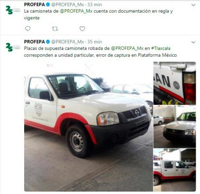 Detención de camioneta de Profepa por error de Plataforma México