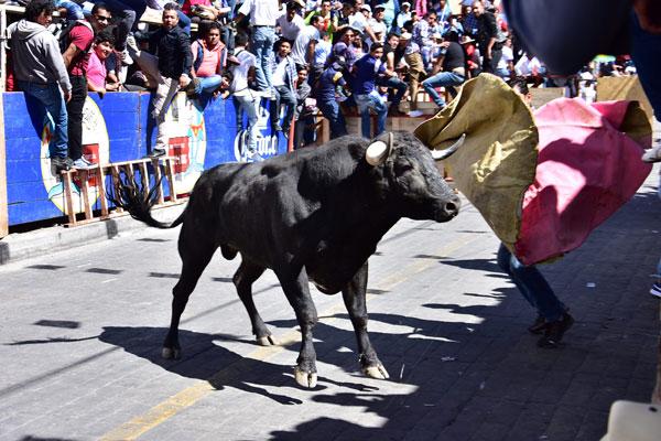No faltaron los toreros espontáneos que hicieron gala de sus habilidades dentro del circuito del Pueblo Mágico. / Héctor LORENZO