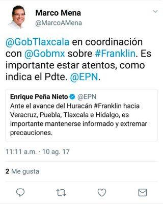 """Tlaxcala, coordinado con Gobierno Federal ante presencia de """"Franklin"""": Marco Mena"""