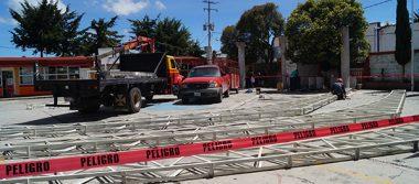 Retoman construcción de techumbre inconclusa en Calpulalpan