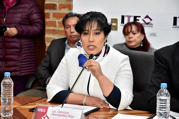 La consejera electoral Denisse Hernández Blas dijo que la sociedad puede tener certeza de que el uno de julio de 2018 habrá condiciones para que los ciudadanos emitan su voto. /Héctor LORENZO