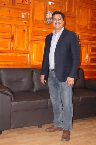 Francisco Villarreal Chairez, alcalde de Yauhquemehcan, estimó que en cinco años habrá de gestionar 200 millones de pesos adicionales para obras y acciones. /Tomás BAÑOS
