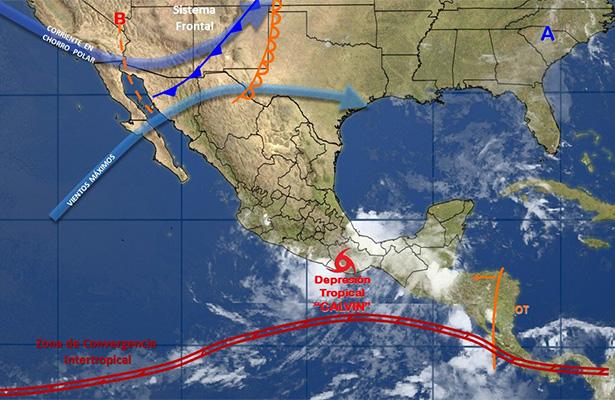 Calvin se ubica en el sur de Oaxaca como depresión tropical