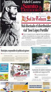 Portada Sol de Toluca 27 de noviembre