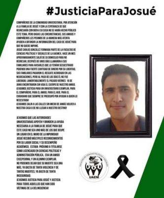 Exigen justicia por homicidio de Josué; alumno egresado de la UAEM
